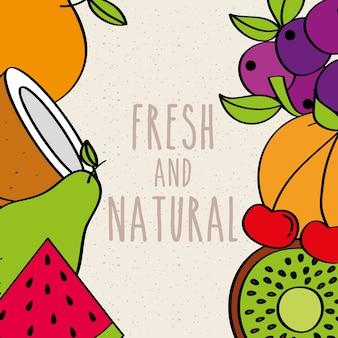 Frische und natürliche früchte grenze dekoration essen
