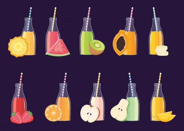 Frische und tropische säfte früchte in flaschen mit strohhalmen