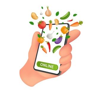 Frischer bauernhof-lebensmittelmarkt. foodservice online-bestellung und lieferung. menschliche hand, die ein mobiles smartphone mit natürlichem gemüse auf dem bildschirm hält.
