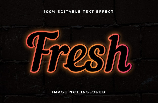 Frischer bearbeitbarer texteffekt im neonstil. heller texteffekt