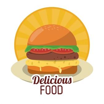 Frischer burger des köstlichen lebensmittels schneller ungesunder aufkleber