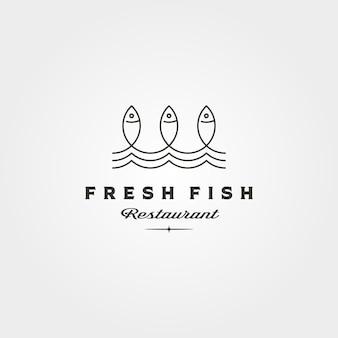 Frischer fisch und wellenlinie logo-vektorsymbol minimalistisches illustrationsdesign