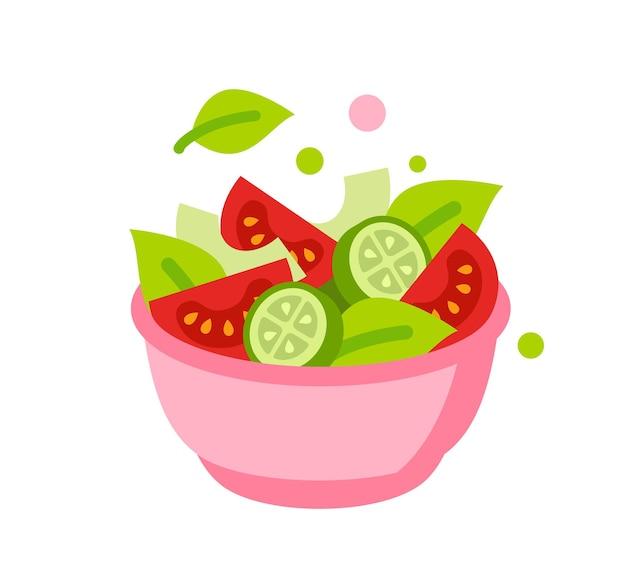 Frischer flacher salat mit salat, tomaten und gurken