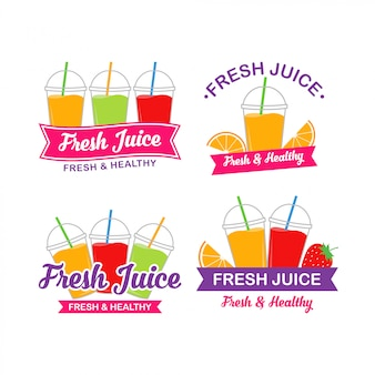 Frischer fruchtsaft logo design vector