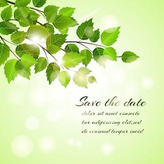 Frischer frühling save the date vektorkartenentwurf mit einem zweig der jungen grünen blätter mit einem bokeh des funkelnden sonnenlichttextes und des copyspace