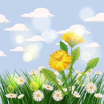 Frischer frühlingshintergrund mit gras, löwenzahn und gänseblümchen. plakat, baner, schablone