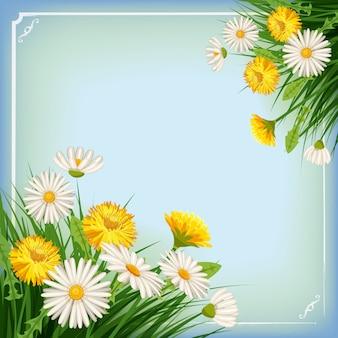 Frischer frühlingsrahmen mit gras, löwenzahn und gänseblümchen