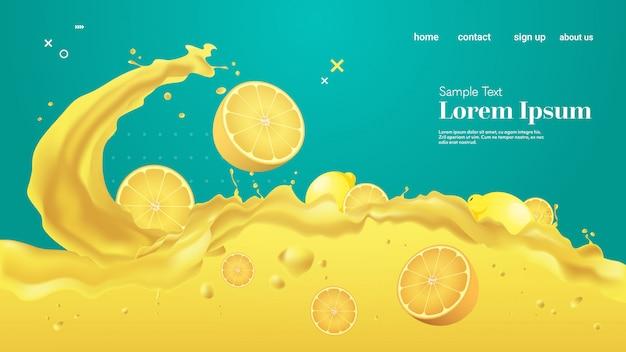 Frischer gelber zitronensaft flüssiges spritzen realistische spritzer gesunde früchte spritzen wellen horizontalen kopierraum