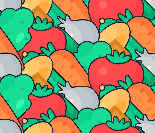 Frischer gemüsesalat aus tomaten, gurken und kohl, karotten, pilzen und knoblauch. leckeres essen nahtlose muster für druck, tischdecke und verpackung, stoff, verbreitung, karte, banner. veganer hintergrund. vektor