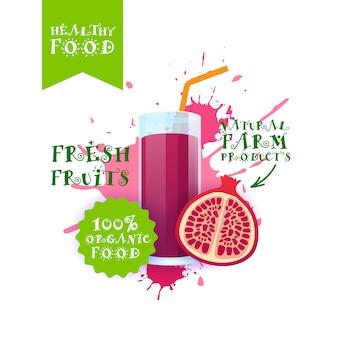 Frischer granatapfelsaft-illustration naturkost-bauernhof-produkt-aufkleber über farbenspritzen