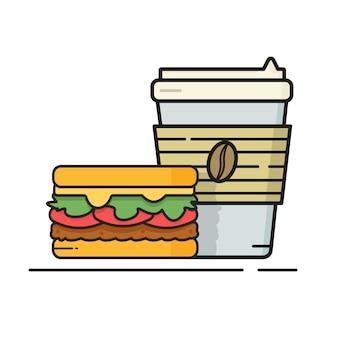 Frischer kaffee zum mitnehmen mit brauner bohnenschale und burger. moderne flache artvektorillustration.