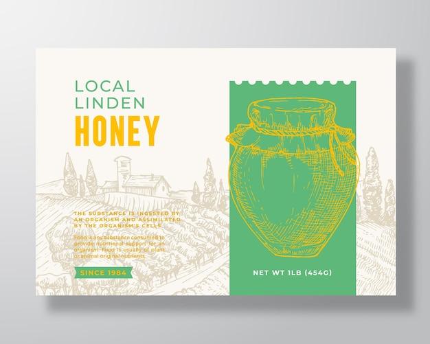 Frischer lokaler honig-etikett-vorlage abstrakter vektor-verpackungsdesign-layout moderne typografie-banner mit ...