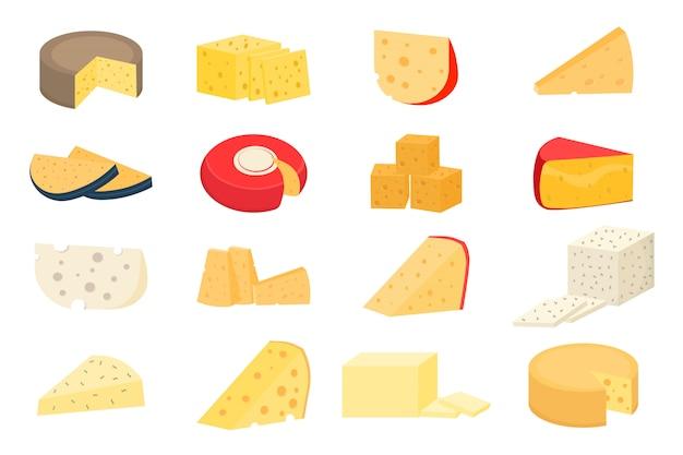 Frischer parmesan oder cheddar. satz käseräder und scheiben lokalisiert auf einem weißen hintergrund. verschiedene käsesorten. realistische ikonen des modernen flachen stils.