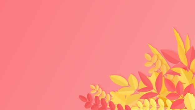 Frischer realistischer hintergrund mit rotem, orangefarbenem, gelbem fallendem herbstlaub