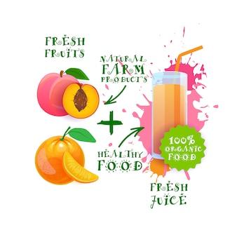 Frischer saft-cocktail-pfirsich und orange naturkost-bauernhof-produkt-aufkleber