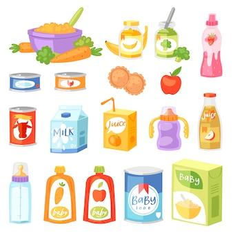 Frischer saft der säuglingsnahrungsvektorkindergesunden ernährung mit obst und gemüse pürierte püree für kindischen satz der kinderbetreuungsgesundheitsillustration der karotte oder apfel und milch lokalisiert