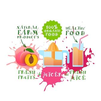 Frischer saft illustration pfirsich juicer maker naturkost und landwirtschaftliche produkte konzept paint splash
