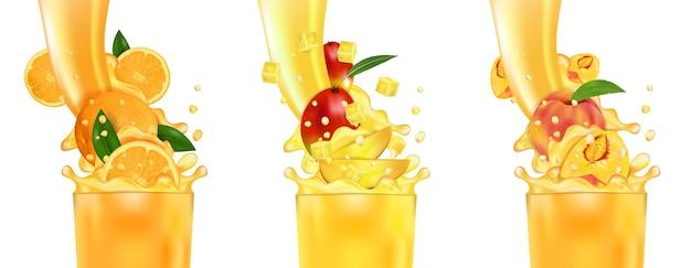 Frischer saft mango, orange, pfirsich und spritzer.