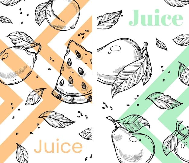 Frischer saft oder smoothie, wassermelone und birnen