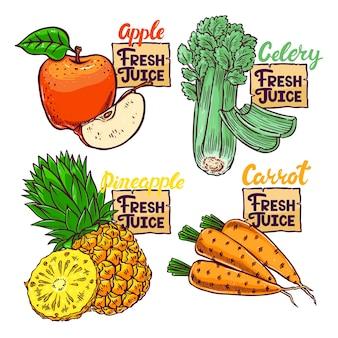 Frischer saft. schöne reihe von frischem gemüse und obst. handgezeichnete illustration