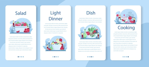 Frischer salat in einer schüssel mobile anwendung banner set. peopple kocht bio und gesundes essen. gemüse- und obstsalat.