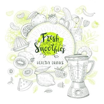 Frischer smoothie, gesundes getränkelogo. vektor, skizzenstil. schriftzug design. kalligraphie-logo. obst, erdbeere, banane, wassermelone, zitrone, orange, apfel, ananas, mixer.