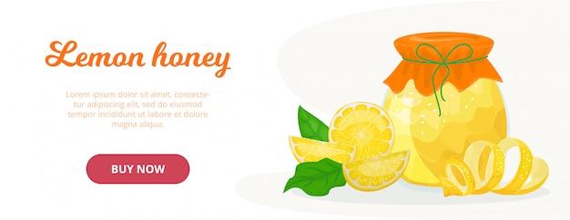 Frischer süßer honig mit zitrone lokalisierter illustration. honig im glas, scheiben, zitronenschale und zitronenblättern, gutes erkältungsmittel. online-shop kaufen.