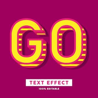 Frischer texteffekt der modernen pop-art rot und gelb, bearbeitbarer text
