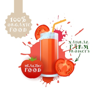 Frischer tomatensaftillustration naturkost-bauernhof-produkt-aufkleber über farbenspritzen