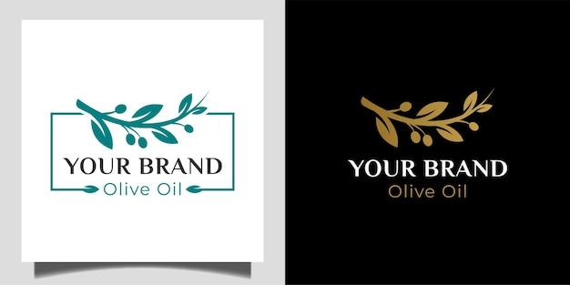 Frischer und eleganter olivenzweig der naturgesundheit für ihre firmenmarkenlogoschablone
