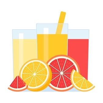 Frischer zitrusfruchtsaft in glas und strohhalm zum trinken fruchtgetränk mit orangen-grapefruit-zitrone