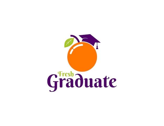 Frisches absolventenlogo mit orangefarbener fruchtillustration