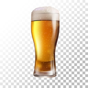 Frisches bier der vektorillustration auf transparentem hintergrund