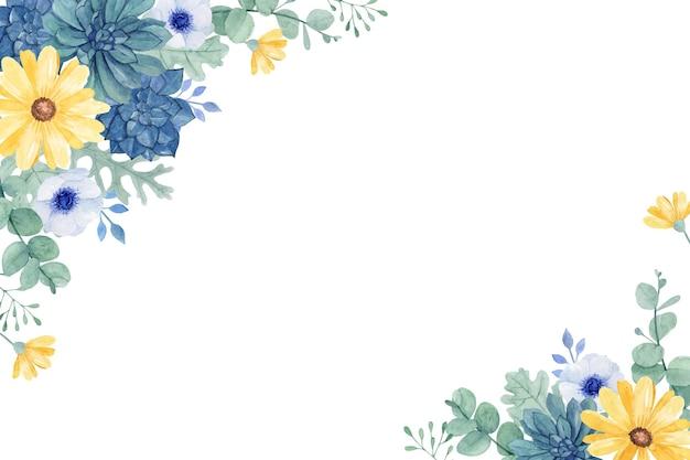 Frisches blumenmuster mit saftigem und gelbem gänseblümchen