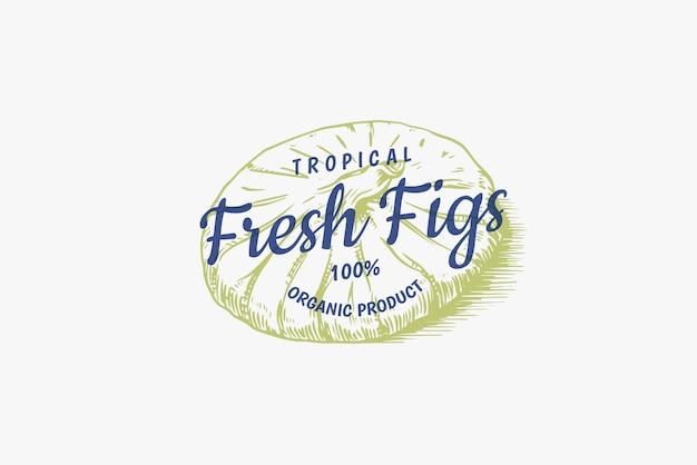 Frisches feigenabzeichen. trockenfrüchte laubetikett oder logo. detox-gewürz.