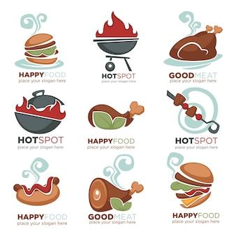 Frisches fleisch, grill, rindfleisch, huhn, truthahnmenü, logo, etikett, emblemsammlung
