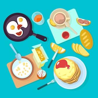 Frisches gesundes frühstücksnahrungsmittel und draufsicht der getränke