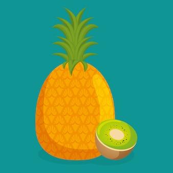 Frisches gesundes lebensmittel der ananas und der kiwi