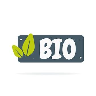 Frisches, gesundes, veganes bio-lebensmittel-abzeichen. gezeichnete illustration des vektors hand. vegetarisches öko-grün-konzept.