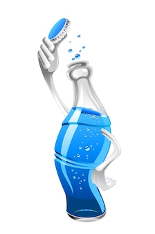 Frisches getränk mit luftblasen auf flasche für schnellimbisskonzept