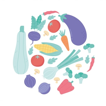 Frisches karikatur-bio-gemüse-auberginen-tomaten-karotten-rettich-pfeffer-brokkoli-mais-design