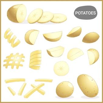 Frisches kartoffelgemüse mit verschiedenen schnitten und arten