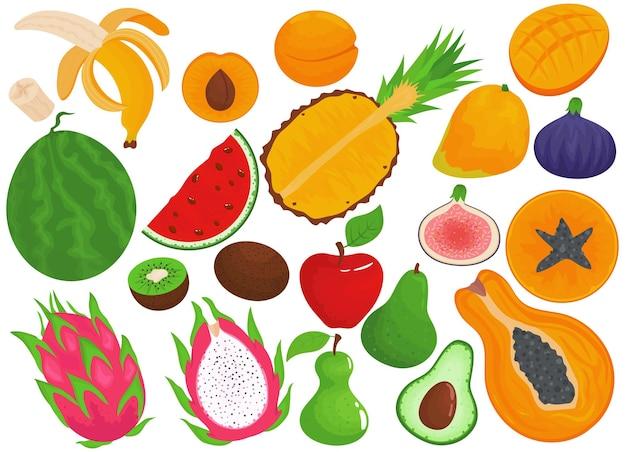 Frisches obst essen isoliert auf weißem set gesunde bananen vegetarische orange süße birne und organische ananas sammlung tropisches produkt