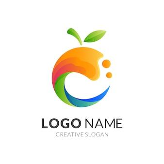 Frisches obst-logo, obst und wasser, kombinationslogo mit 3d buntem stil