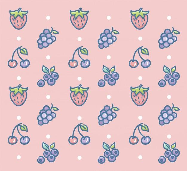 Frisches obst-muster-vektor-design mit erdbeer-trauben-kirsche und blaubeere