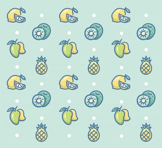 Frisches obst-muster-vektor-design mit zitronen-kiwi-mango und ananas