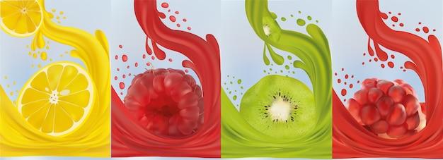 Frisches obst zitrone, himbeere, kiwi, granatapfel. saft auf süße früchte spritzen.