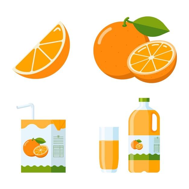 Frisches orangenfrucht- und saft-set. flat style kollektion: orangenscheiben und ganze früchte, orangensaftverpackungen (karton, glas, plastikflasche). premium-vektor