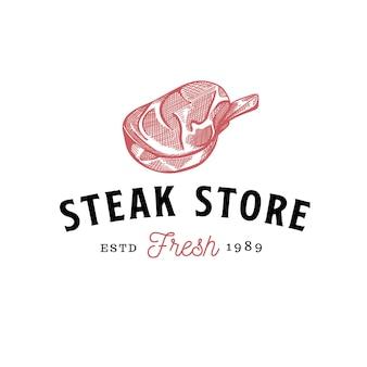Frisches rindfleisch metzgerei steak handgezeichnete rohe fleischelemente