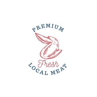 Frisches rindfleisch metzgerei steak handgezeichnetes logo für rohes fleisch meat